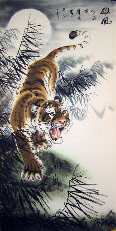 Ancient chinese tiger drawing - photo#19