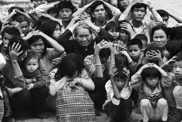 Terrified Vietnamese Civilians in City of Hue 1968