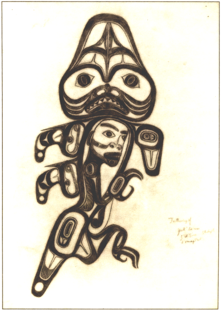 This drawing of Dogfish Woman, by Haida artist Daxhiigang, was made in Port Essington in 1897.  It refers to a Haida woman captured by a Dogfish chief, who eventually becomes dogfish herself.